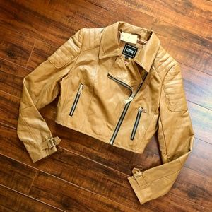 Foreign Exchange Camel Cropped Moto Jacket